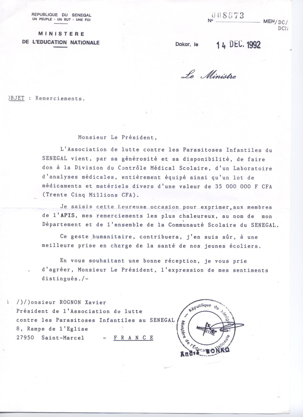 Remerciement ministere de l education nationale du senegal